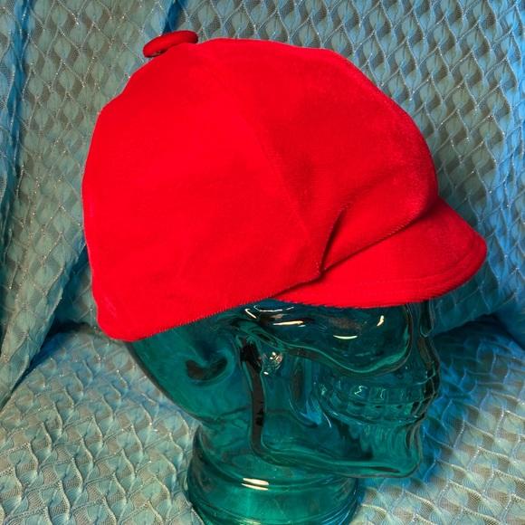 Vintage Red Velvet Equestrian style hat